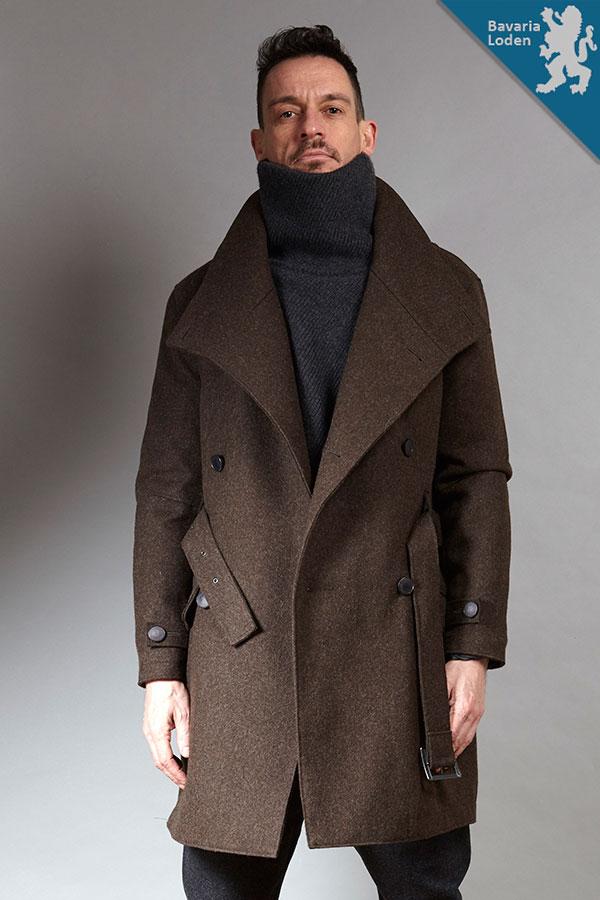 Brown organic woolen Trench Coat | Sustainable menswear