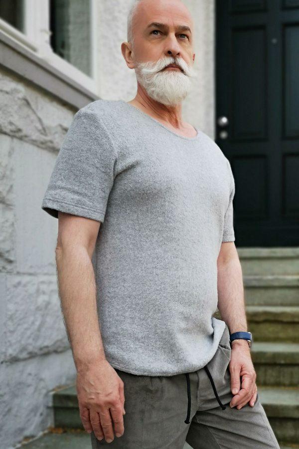 contemporary menswear organic cotton teddy Tee light grey