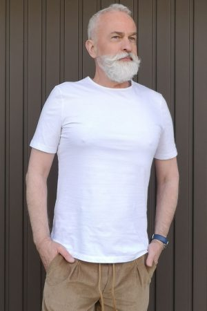contemporary menswear organic cotton basic tee white