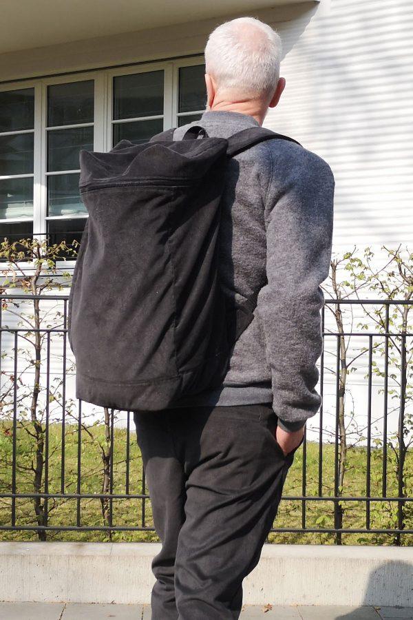 contemporary menswear corduroy backpack dark grey