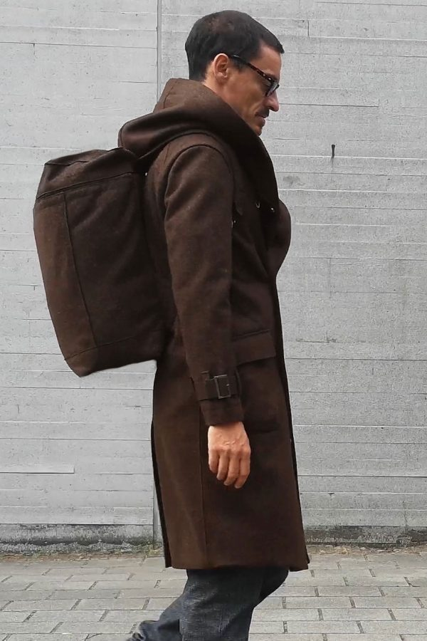 contemporary menswear wool Loden backpack dark brown