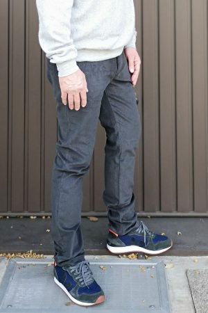 contemporary menswear corduroy tapered chino dark grey