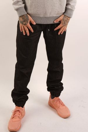 contemporary menswear cotton twill jogger trouser black