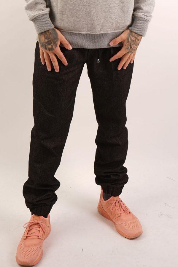 contemporary menswear cotton twill jogger trouser black