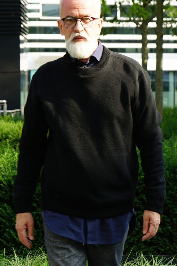contemporary menswear luxury sweat crew neck basic jumper black
