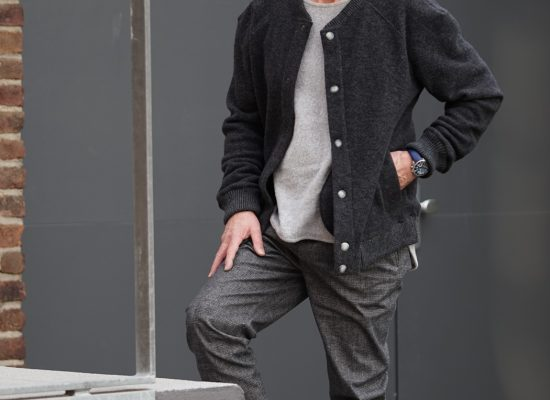 Menswear Cardigan made of wool/cotton fleece