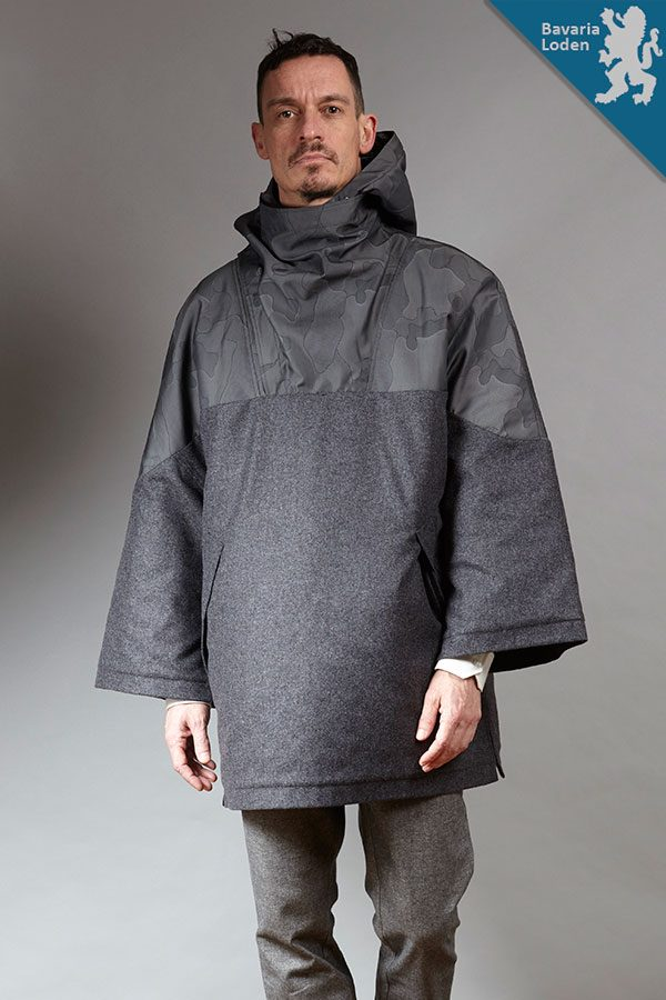 Grey Camo wool men's cape | Sustainable menswear