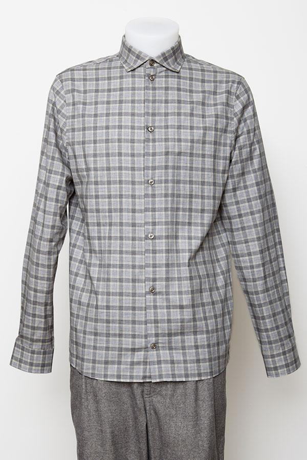 Grey melange check shirt | sustainable menswear