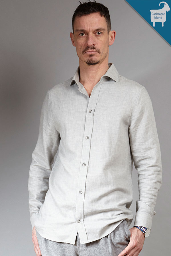 Grey cashmere-blend shirt | Sustainable menswear