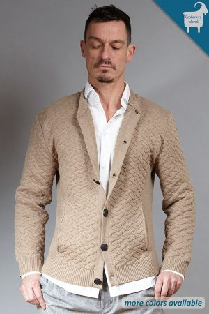 Sand cashmere-blend knit cardigan | Sustainable menswear