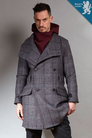 Grey check wool Trench Coat | Sustainable menswear