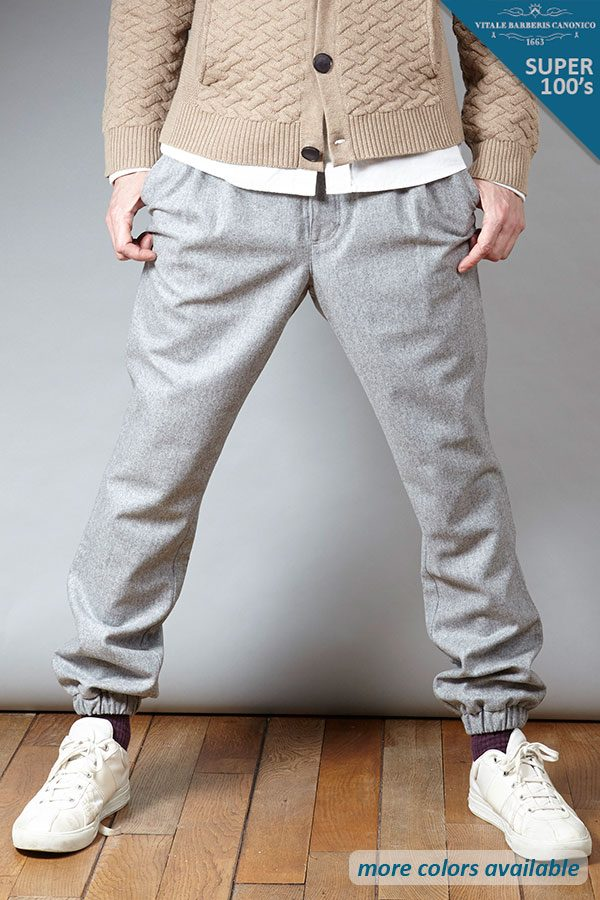 Grey Super 100's wool Jogger pant | Sustainable menswear