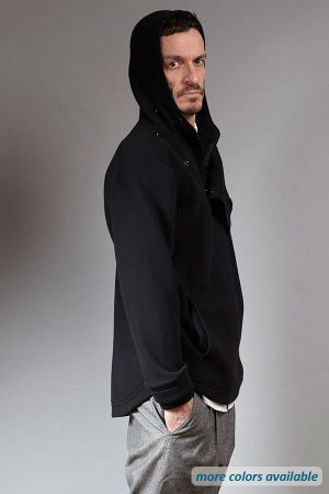 Black luxurious hoodie with front flap
